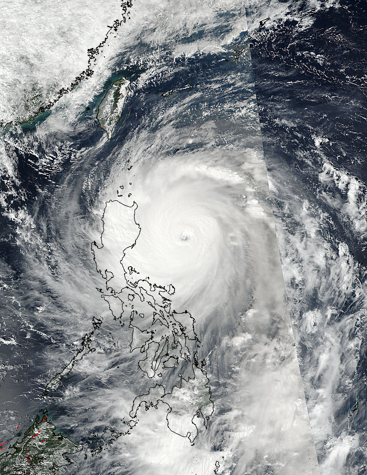 Typhoon Haima on 2016-10-19 as seen by the SuomiNPP satellite (Crédits Nasa)